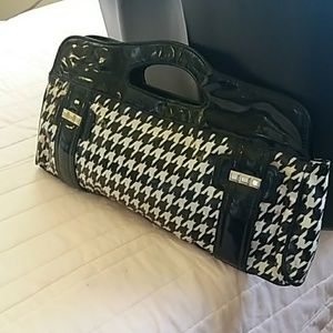 Vintage black/white checkered clutch
